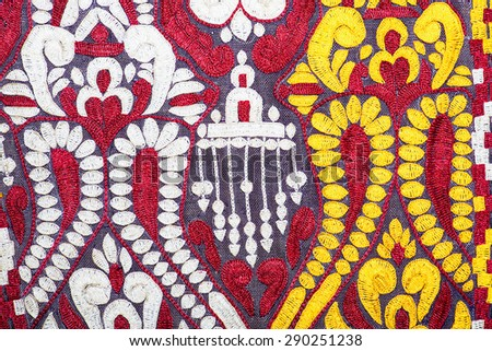Colorful kyrgyzstani handcraft peruvian style rug surface close up More  this motif more textiles peruvian stripe beautiful background tapestry persian nomad detail pattern arabic fashionable textile. - stock photo