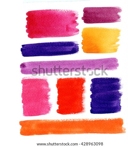 Colorful labels and banners isolated on white. Abstract watercolor background. Wet watercolor texture. Hand painted elements for web design. - stock photo