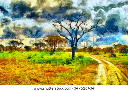 Colorful landscape african safari park road oil painting - stock photo