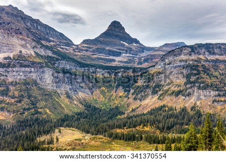 Colorful landscape along the Going to the sun road in Glacier National Park, Montana - stock photo