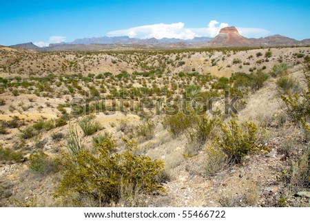 colorful landscape and mountains - stock photo
