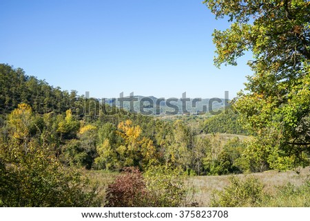 Colorful landscape in autumn in the Italian Umbria