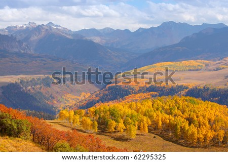 Colorful landscape of San Juan mountains in autumn - stock photo