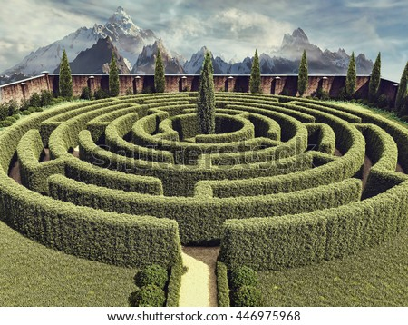 Colorful landscape with a fantasy garden maze. 3D illustration.