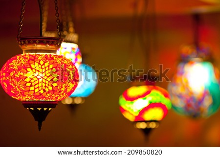 colorful lantern lamps traditional style  - stock photo