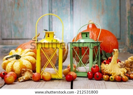 Colorful lanterns among autumn plants on wooden table - stock photo