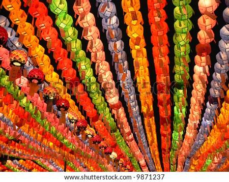 Colorful lanterns on buddha's birthday - stock photo