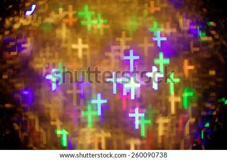colorful latin cross bokeh background - stock photo