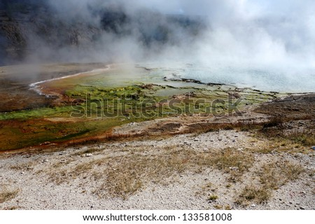 colorful layers of bacteria in Yellowstone National Park, Wyoming - stock photo