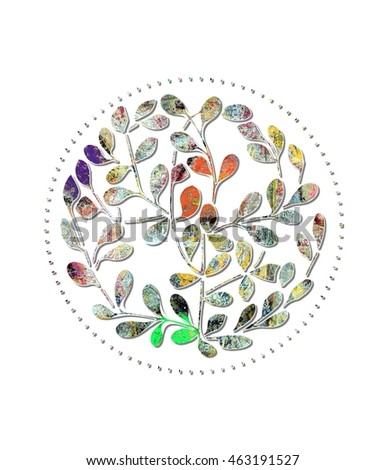 Colorful Leafy Circle Design Element