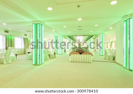 Colorful led lightning in wedding hall