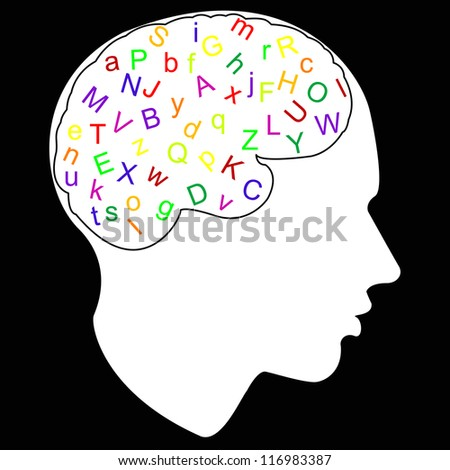 colorful letter in brain,