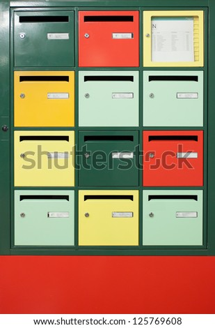 Colorful letterboxes - stock photo
