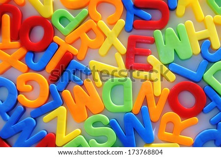 colorful letters. childhood education teaching. - stock photo