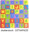 colorful letters numbers toys abstract background - stock photo