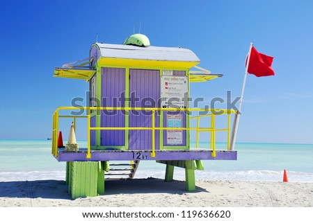 Colorful lifeguard station on blue sky in Miami Beach, Florida - stock photo