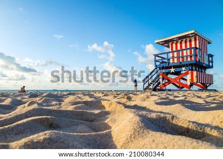 Colorful Lifeguard Tower in South Beach, Miami Beach, Florida - stock photo