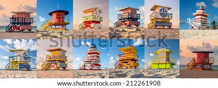 Colorful Lifeguard Tower in South Beach, Miami Beach, Florida - stock photo