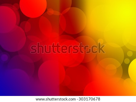 Colorful light leaks on the black background. Made from blue, purple, red, orange and yellow colors with small and big circles. Easy to place on you image add amazing effect. - stock photo