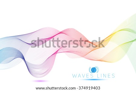 colorful light waves line bright abstract pattern raster illustration