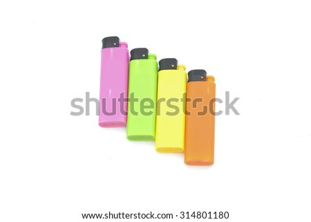 Colorful lighter isolated on a white background - stock photo
