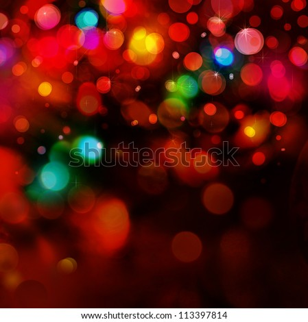 Colorful lights  on red background. - stock photo