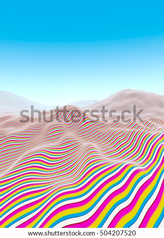 Colorful line waves, stripes fading to blue horizon illustration