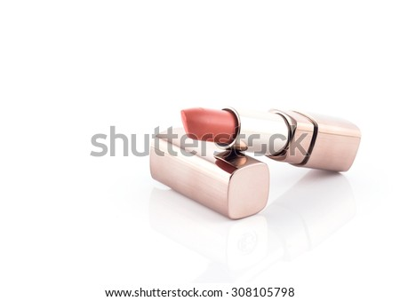 Colorful lipstick for make up on white background - stock photo