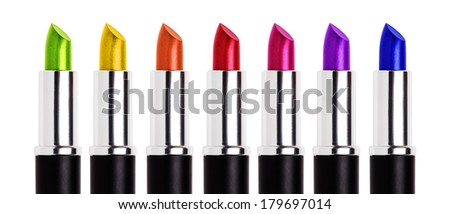 colorful lipsticks - stock photo
