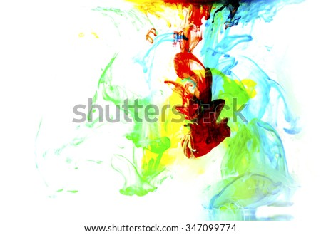 colorful liquid paint water abstract on white background