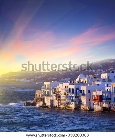 Colorful Little Venice of Mykonos island at  sunset , Greece . Travel background - stock photo