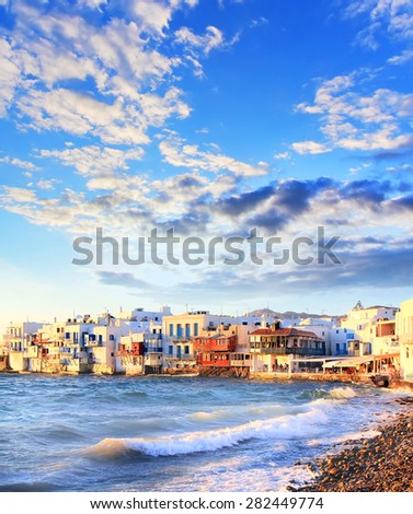 Colorful Little Venice on Mykonos island, Greece. Business and travel concept - stock photo