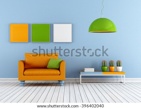 Colorful living room with armchair - 3d rendering - stock photo