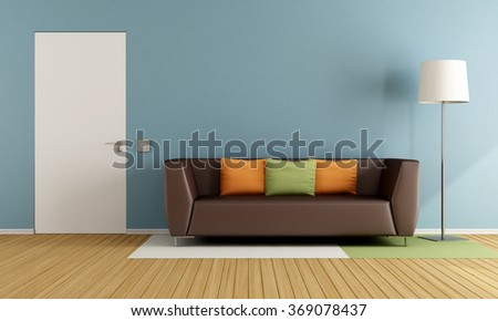 Colorful living room with modern couch and closed door - 3D Rendering