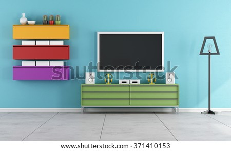 Colorful Living Room With Tv
