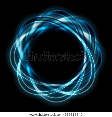 Colorful logo. Bright blue shapes on black background - stock photo