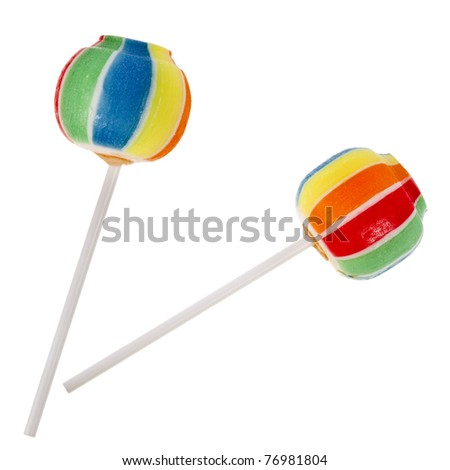 colorful lollipop isolated on a white background - stock photo