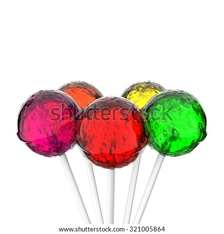 Colorful lollipops against white - stock photo