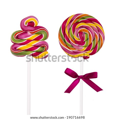 Colorful lollipops isolated on white background