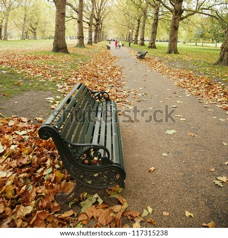 Colorful London Autumn, Green Park near Buckingham Palace, - stock photo