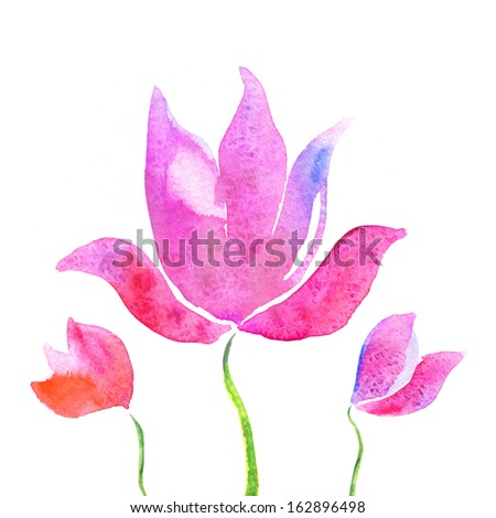 Colorful lotus flowers watercolor background - stock photo