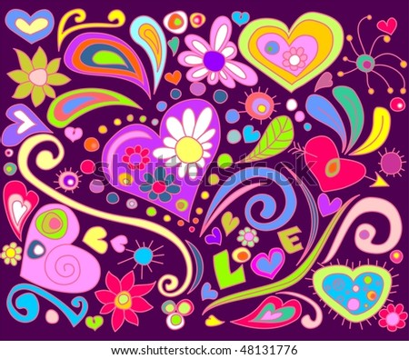 Colorful love doodle. For vector see my portfolio, image no. 44864464 .