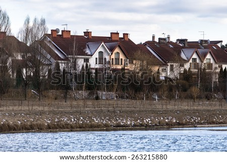 Colorful low-rise buildings - stock photo