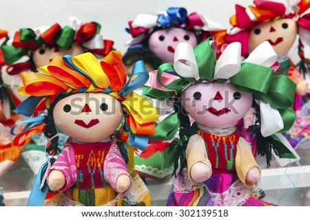 Colorful Lupita Dolls named after Guadalupe Mexico City Mexico Souvenirs - stock photo