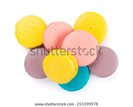 Colorful macaron cookies. Isolated on white background - stock photo