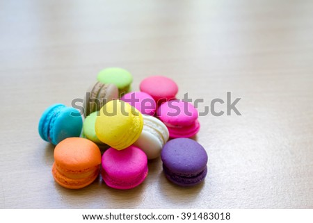 colorful macaron on wood table