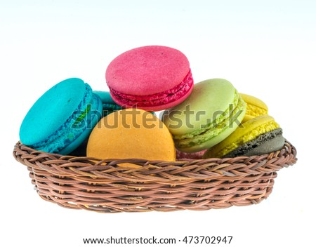 Colorful macarons on white background. Macaron or Macaroon is sweet meringue-based confection.