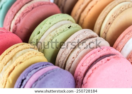 colorful macarons with vintage pastel filtered - stock photo