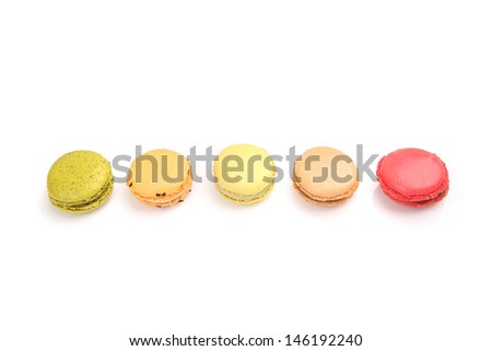 Colorful macaroon in close up isolated on white background