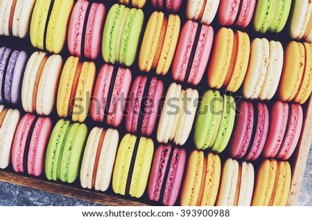 Colorful macaroons background - stock photo